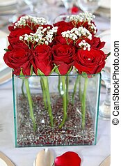 Red Roses Flower Arrangement - Red roses arranged in a...