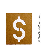 Symbol $ - Cardboard stencil symbol $ for the replication of...