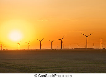 Wind Farm Sunset - View of an Indiana wind farm at sunset