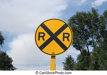 Rail Road Crossing Sign along a county road