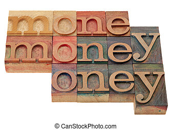 money - word in letterpress type - money - word abstract in...