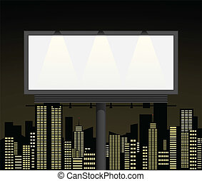 Publicity board in a city. A vector illustration