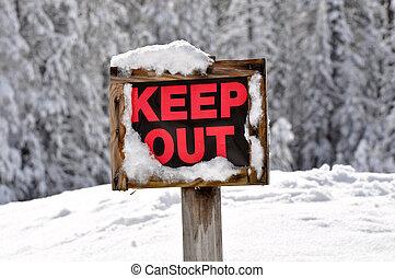 madeira, mantenha, saída, neve, sinal