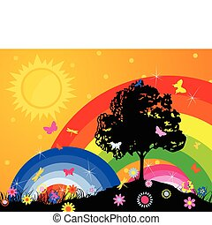 Silhouette of a tree against a rainbow and the bright sky. A...