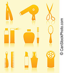 Hairdressing salon icons - Set of icons on a theme a...