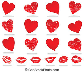 Set of icons of red hearts. A vector illustration