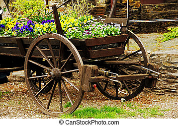Flower cart - Old cart in retro style used as flowerbed