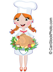 Girl cook with turkey