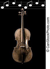sepia of a cello on a black background - Sepia of a cello on...