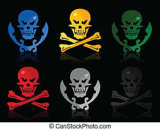 Set of icons a skull and bones and a skull and swords. A...