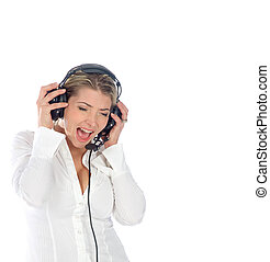 female pilot or air traffic controller screaming over a...