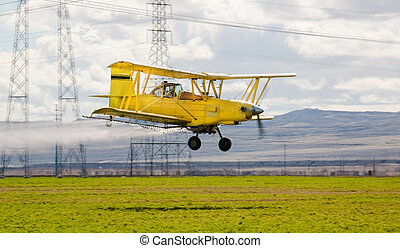 Crop duster - crop duster spraying insecticide on crops in...