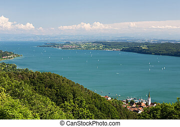 Lake Constance Bodensse Lake with Mountains Background