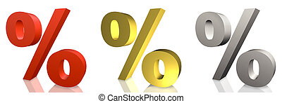 Percentage Sign in Silver and Gold Isolated on White...