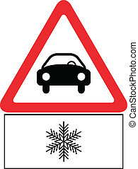 Snow On The Road Traffic Sign