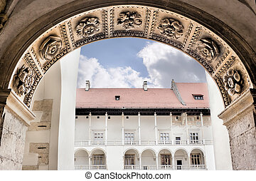 Renaissance castle. - Arcades in Wawel Castle in Cracow....