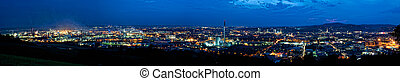 Linz at Night - Panorama of Linz, the Capital City of Upper...