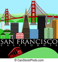 San Francisco Skyline with Golden Gate Bridge - San...