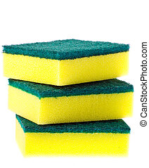 Stack of colorful scrubber pads or scourers Isolated over...