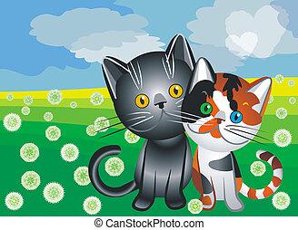 vector cat love