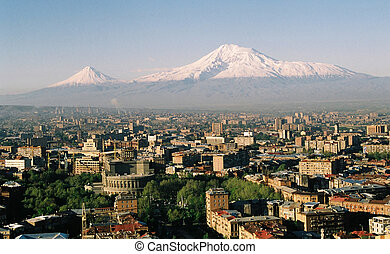 Mountain Ararat. - Mountain Ararat and city Yerevan.Armenia.