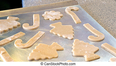 Cutout Cookies on a Sheet