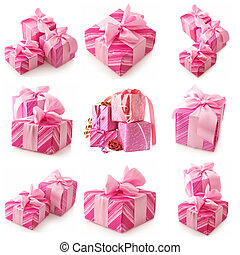 Collage of pink gifts