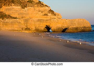 hermoso,  portugal,  Algarve, playa, ocaso, sur