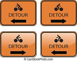 shiny detour traffic sign