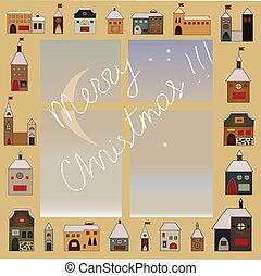christmas window - folk decorative christmas snow window...