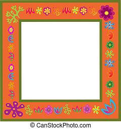orange vector flowers frame