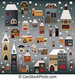 christmas houses vector set - winter snow-covered country...