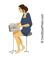 romantic typist - old fashioned drawing typist romantic...