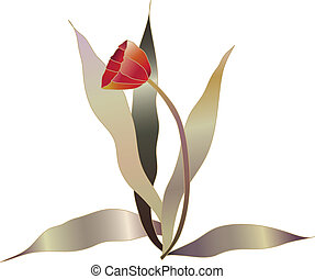 red tulip vector 1 - red tulip vector flower sketch