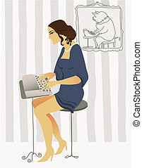 typist - old fashioned drawing typist romantic young woman