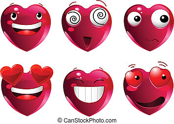 Set of heart shape emoticons - Set of heart shape emoticons...