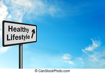 Photo realistic metallic, reflective 'healthy lifestyle' sign with space for text overlay
