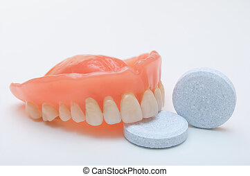 Dentures dentition - Close-up of denture with cleaning...