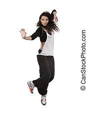 cute hip hop dancer - beautiful modern dancer in hip hop...