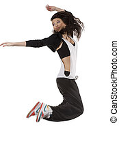 girl hip hop dancer flying - flying dancer woman in modern...