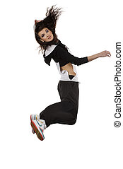 jumping girl dancer - modern young woman dancer in hip hop...