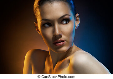 beauty portrait - beauty girl on the dark background