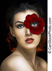 beauty portrait - a beauty girl on the dark background