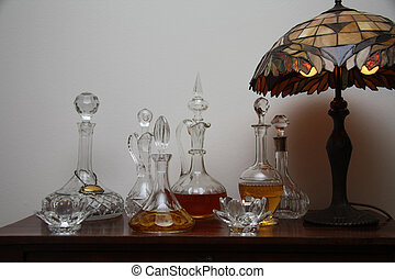 Antique still life - A collection of antique chrystal...