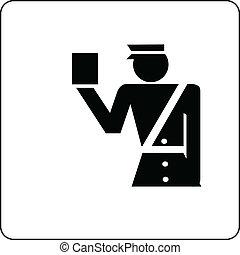 officer custom control sign vector illustration