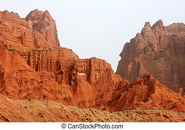 Red mountains - Landscape of red mountains at the entrance...