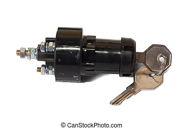 ignition switch with ignition key. Isolated on white...