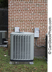 outside heat pump - outside portion of heat pump containing...