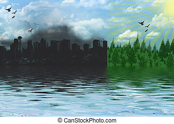 Environment - Urban and country scenes with water...