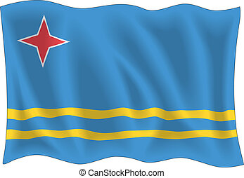 Aruba flag isolated on white background